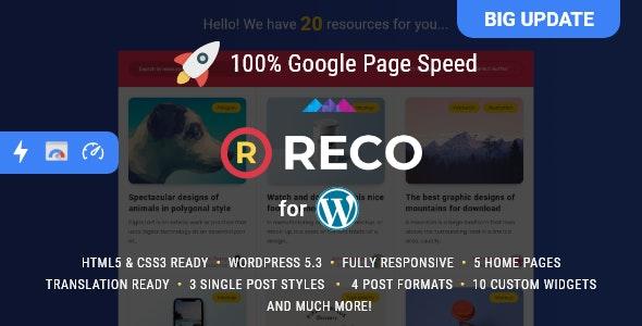Reco - шаблон для блога или новостного сайта WordPress