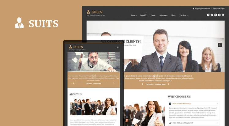 SJ Suits - шаблон для адвоката и юридической фирмы Joomla