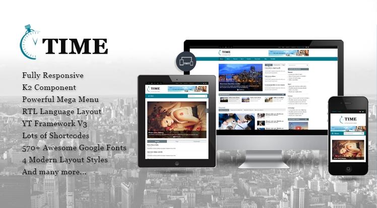 SJ Time - шаблон новостного портала Joomla