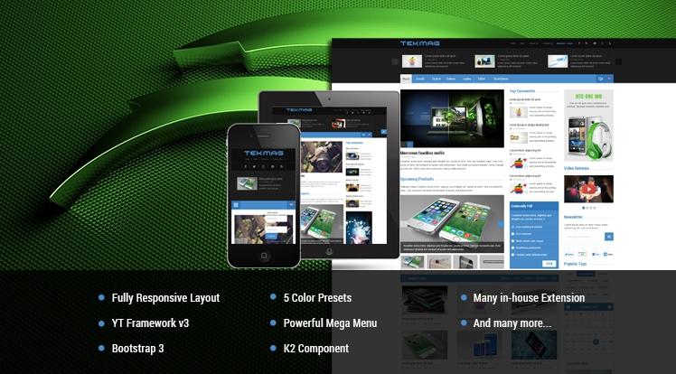 SJ Tekmag - шаблон новостного портала об электронике Joomla