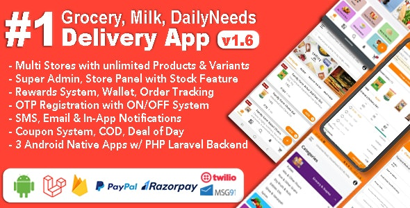 Grocery and Vegetable Delivery Android App with Admin Panel