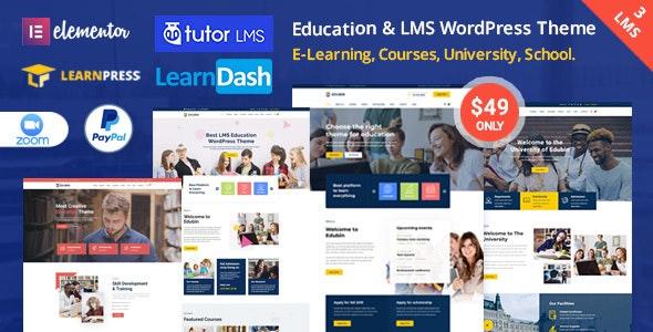 Edubin - образовательная тема LMS WordPress