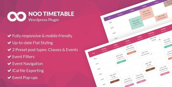 Noo Timetable - адаптивный плагин календаря для WordPress