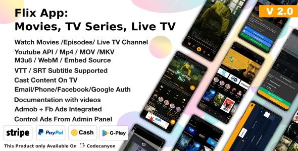 Flix App Movies - TV Series - Live TV Channels - TV Cast